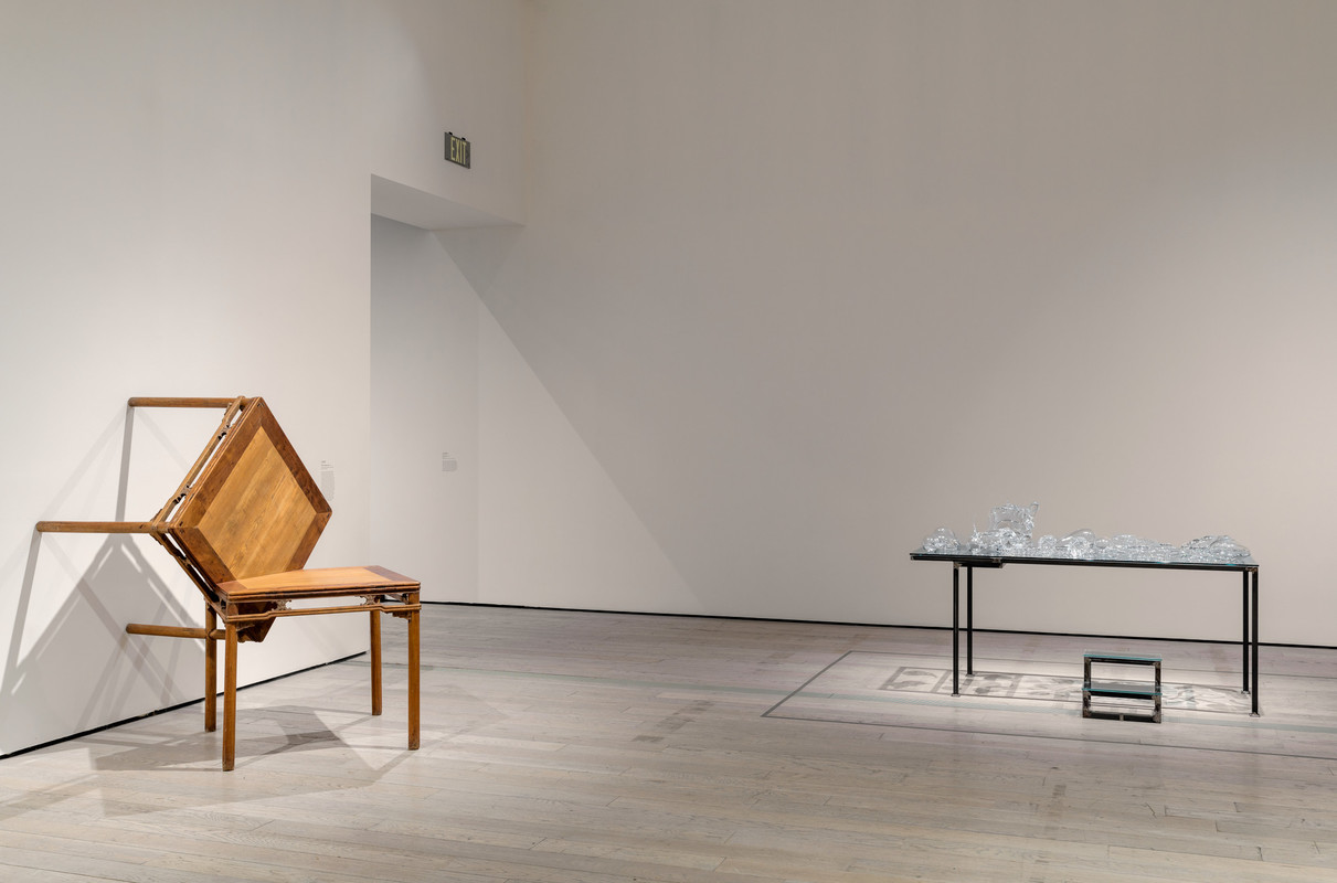 Installation photograph, featuring Ai Weiwei's  Table at Right Angles  (1998) and Chen Zhen's  Crystal Landscape of Inner Body  (2000), in the exhibition The Allure of Matter: Material Art from China (Jun 2, 2019–Jan 5, 2020), Los Angeles County Museum of Art, © Ai Weiwei, © Chen Zhen, photo © Museum Associates/LACMA