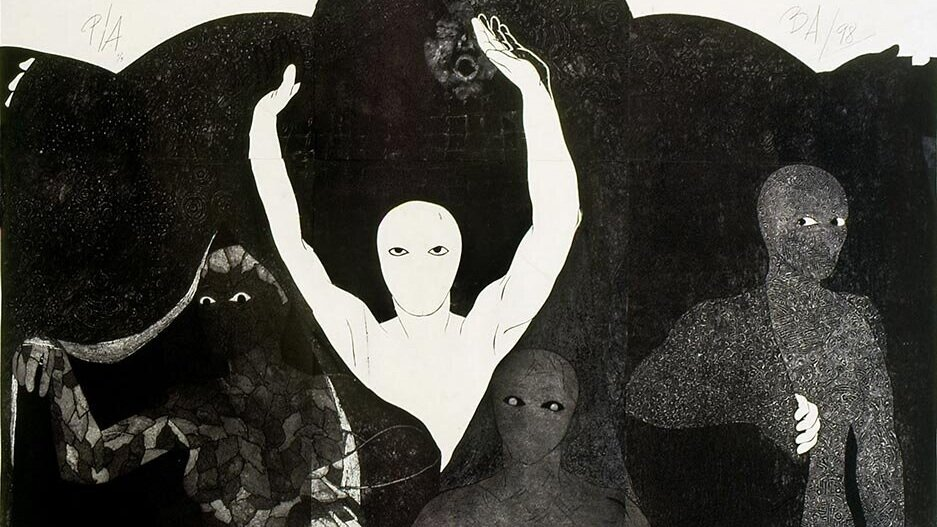 Belkis Ayón,  Resurrección (Resurrection),  1998. Photo from Johns Hopkins University Press.