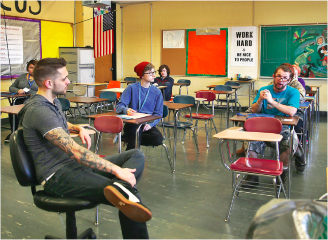 """By Makayla-Courtney McGeeney, mmcgeeney@benningtonbanner.com   BENNINGTON — Students at Mount Anthony Union High School still entered the building early Thursday morning, even though school wasn't in session  Roughly 50 youth attended mini-mental health breaks and """"Healthy State of Mind"""" workshops at the third annual Youth Summit sponsored by Teens4Change and United Counseling Service.  The wellness theme carried throughout the day-long series which commenced after alum and keynote speaker Aaron Styles shared his experiences about overcoming bullying in high school and how he founded the first LGBTQ group at MAUHS.  Styles graduated in 2007 and held a question and answer mini-mental health session for about seven students. He first asked how many had been bullied and how many had been the bully.  """"When someone is picking on someone else, a lot of times it's not necessarily because of you, a lot of times it has to do with what's going on with their own energy, in their own body,"""" he said. """"People are bullying others to try to make themselves feel better. Anytime you are getting bullied, just remember that that's their energy.""""  Students said they were bullied for their size, sexual identity and physical appearance.  """"If we're different, if you're short, or if you have a different personality, there's a lot of different ways [to get bullied],"""" 19-year-old Adelbert Capen said. """"People can think of you as a target.""""  """"I feel like once you get to college, everyone matures a little bit and everyone treats each other a little bit differently,"""" Styles said. """"After graduation everyone's energy balances out a little bit. As we get older we learn how to deal with it a little differently.""""  Styles used to live in Bennington but has since moved to the Capital District in New York. His experience with public speaking specifically involves HIV reachout. He said a few participants reached out to him after his speech to ask about how he maneuvered through life emotionally.  Particip"""