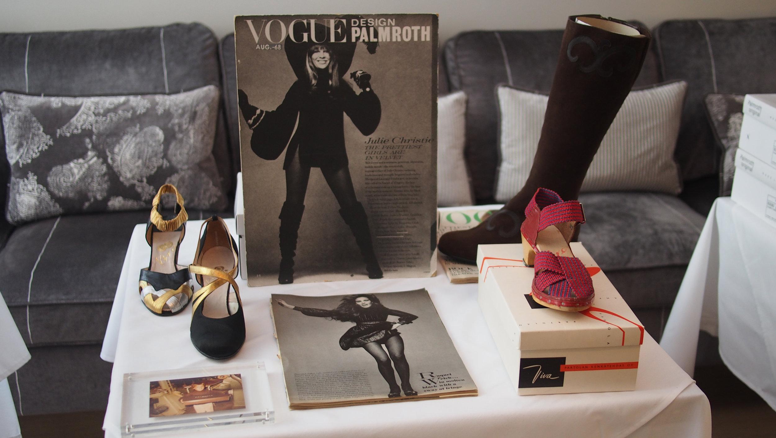 herkkuja historiasta: Viva-kengät 30-luvulta ja Vogue USA editorial elokuulta -68 (Julie Christie wears Palmroth of Finland)