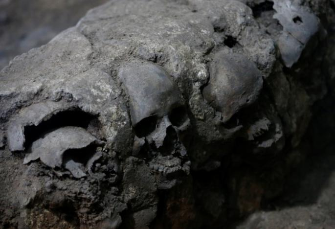 Skulls are seen at a site where more than 650 skulls caked in lime and thousands of fragments were found in the cylindrical edifice near Templo Mayor, one of the main temples in the Aztec capital Tenochtitlan, which later became Mexico City, Mexico June 30, 2017.REUTERS/Henry Romero