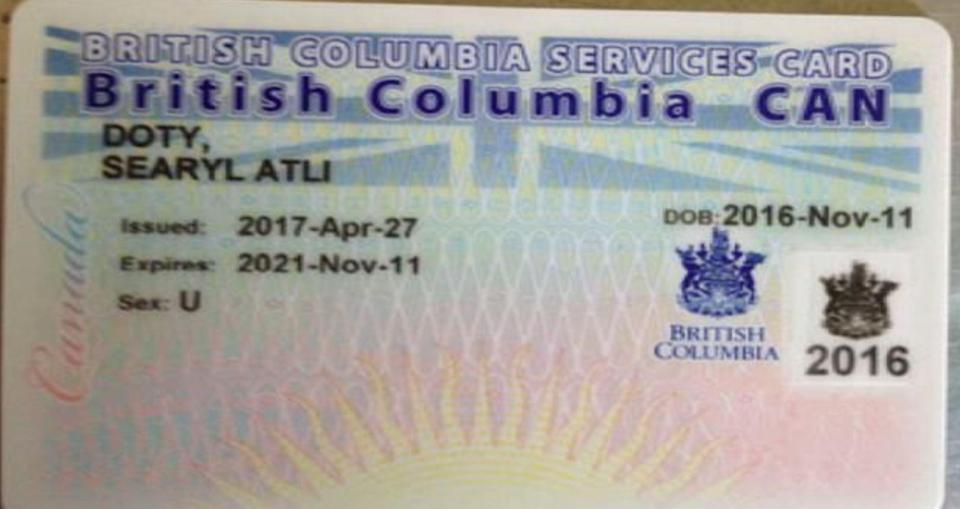 The child already has a health card in British Columbia which does not state its genderIMAGE: GENDER FREE ID COALITION