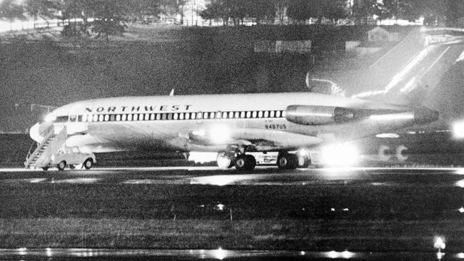 Northwest Airlines flight 727 sits on the tarmac at Portland airport after being hijacked by DB Cooper. Picture: Seattle Times/Bruce McKim Source: News Corp Australia