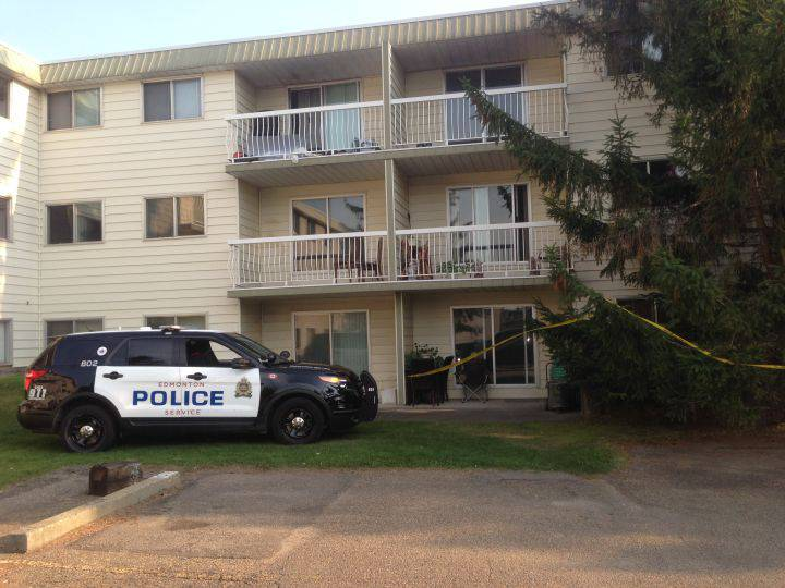 """Police said officers responded to a """"check on welfare"""" call at a building in the area of 144 Avenue and 88A Street. They said Maurice's body was found inside a suite that she did not live in.  Nathan Gross/ Global News"""