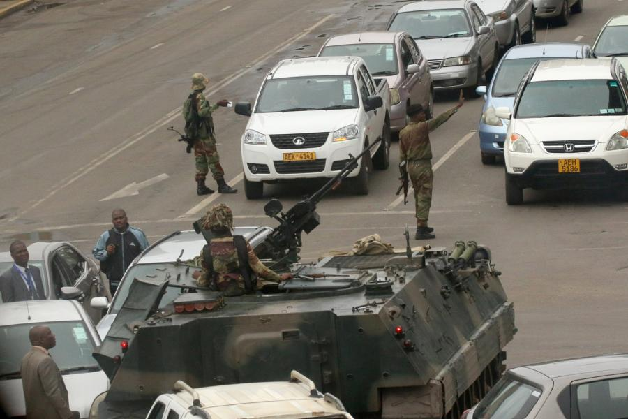 Troops in the Zimbabwe capital Harare