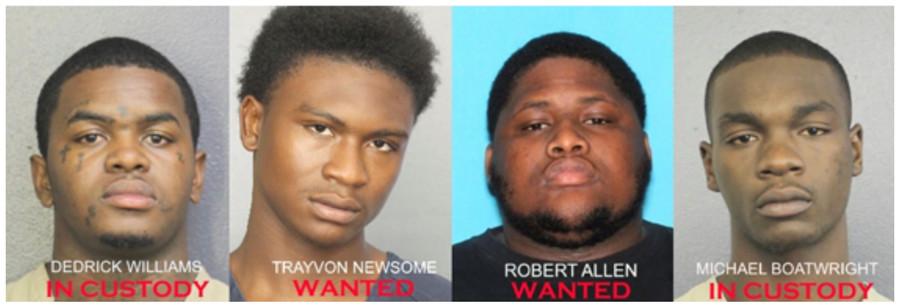 The four suspects in the XXXTentacion killing © Handout / Reuters