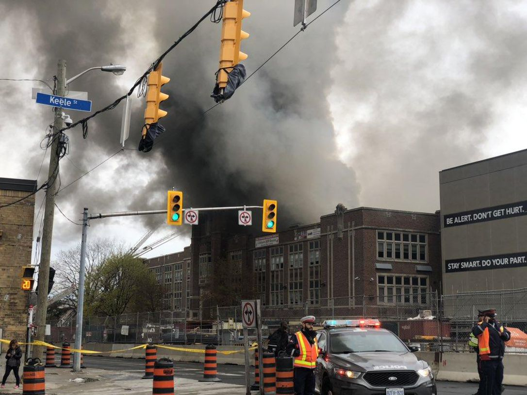 Heavy smoke and flames could be seen coming out of York Memorial C.I. on Tuesday