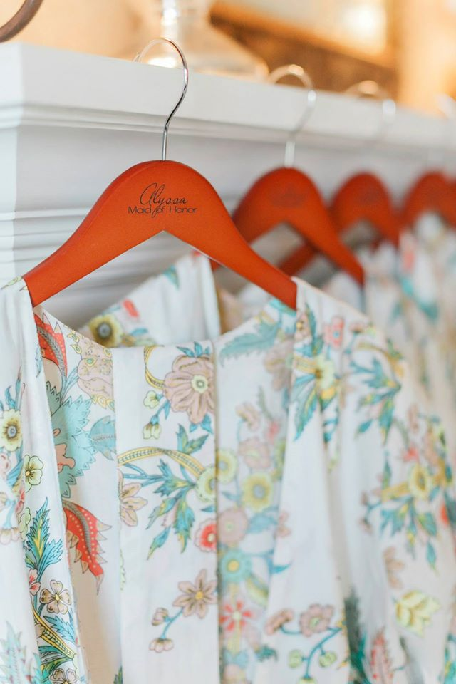 Bridesmaids robes with personalized hangers #classicconnecticutwedding for sure