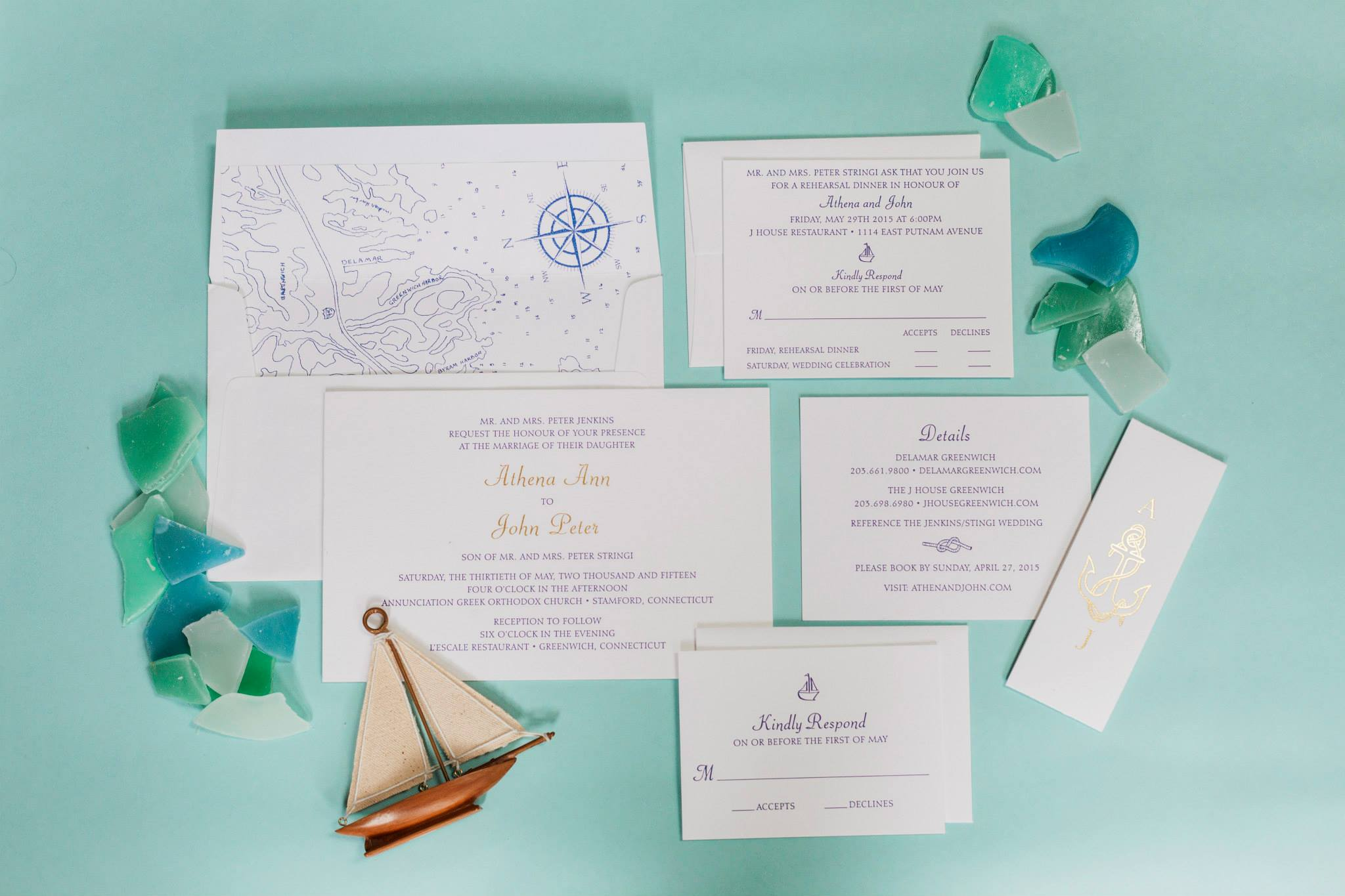 Custom nautical inspired invitation, designed by Ashley Douglass with Lion in the Sun Invitations, Cutsom liner hand drawn by relative of the Bride, Navy letterpress and gold foil