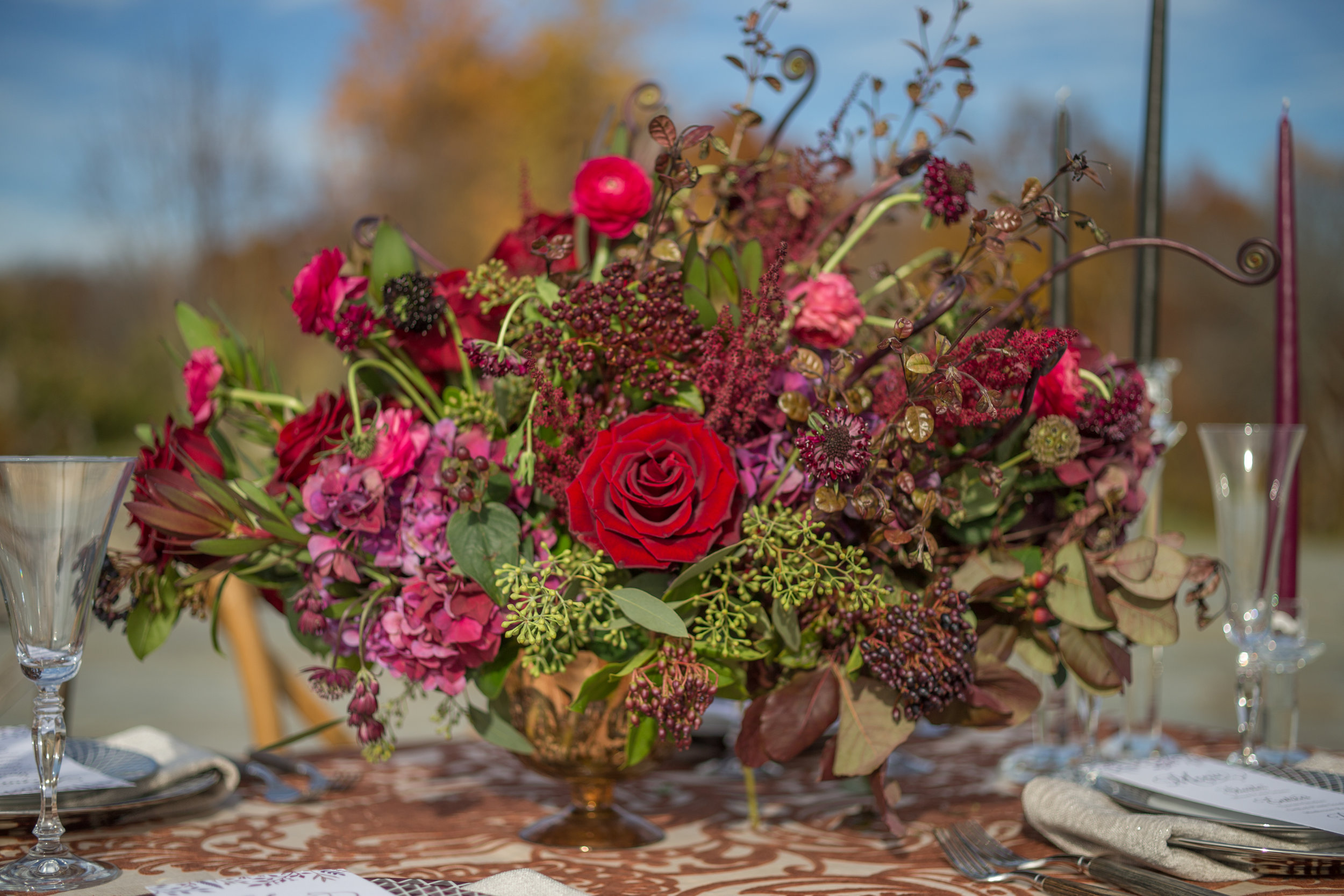 NYC Wedding Planner Ashley Douglass Events at Harvest Moon Farm Orchard with Blade NYC Floral Designs