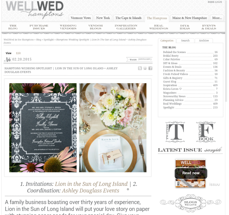 WellWed in the Hamptons Blog!