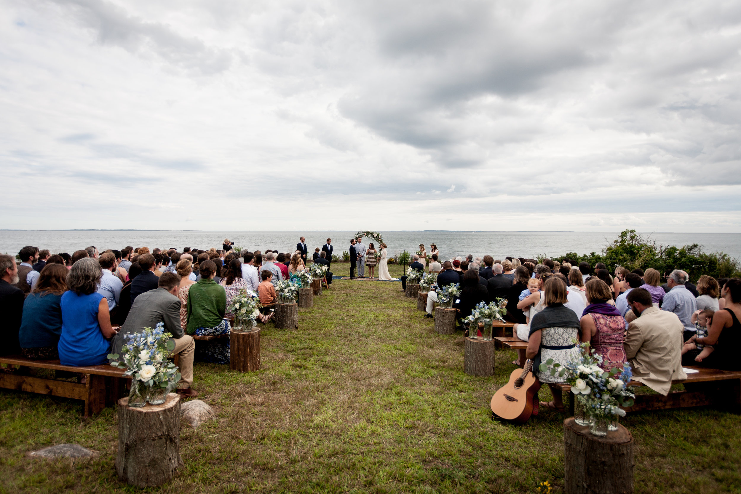 Ceremony View in Old Lyme, CT Shoreline Wedding. Brookelyn Photography with Ashley Douglass Events.