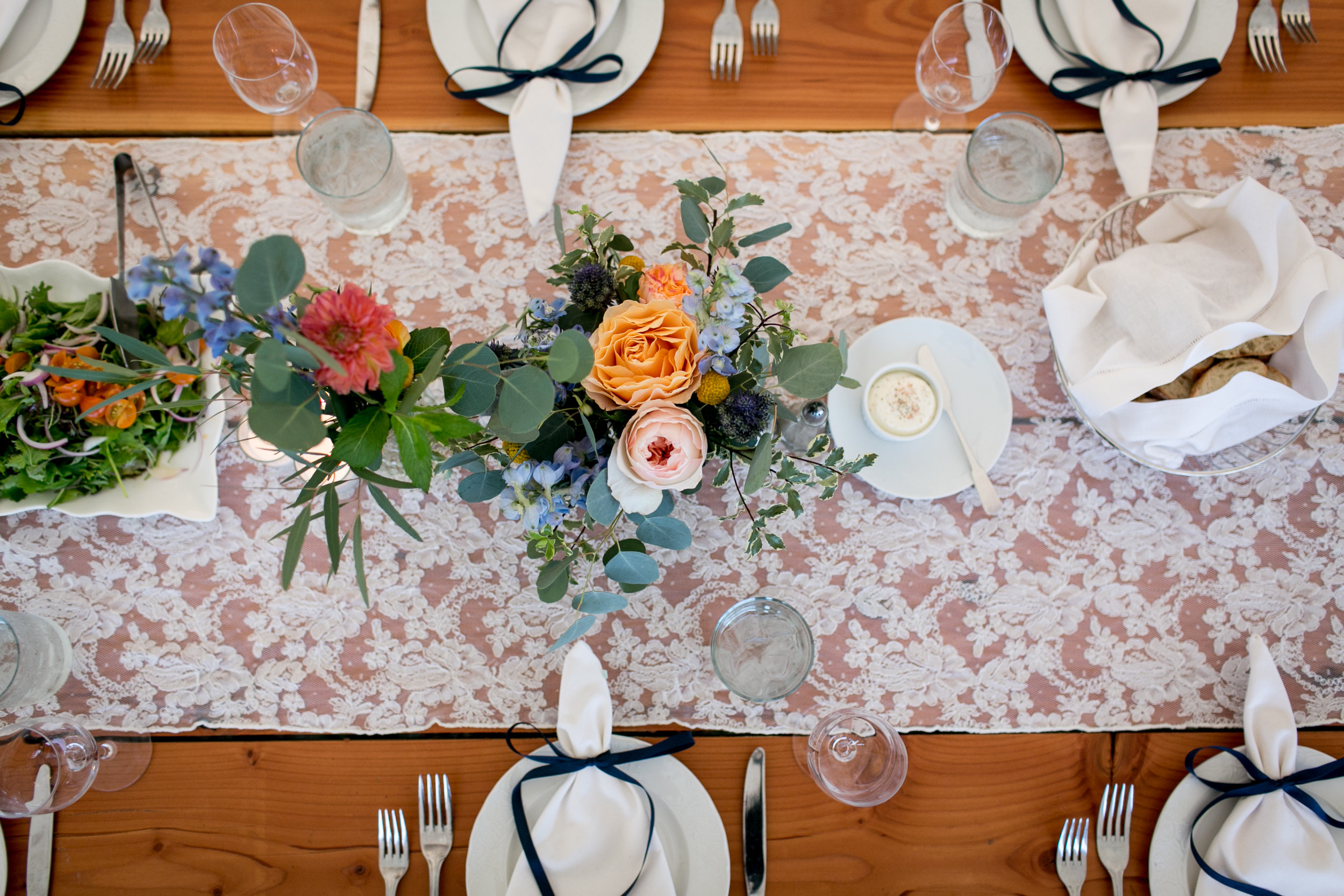 Ashley Douglass Events with Hana Floral Design. Gorgeous custom ordered table runner by Tablewraps.