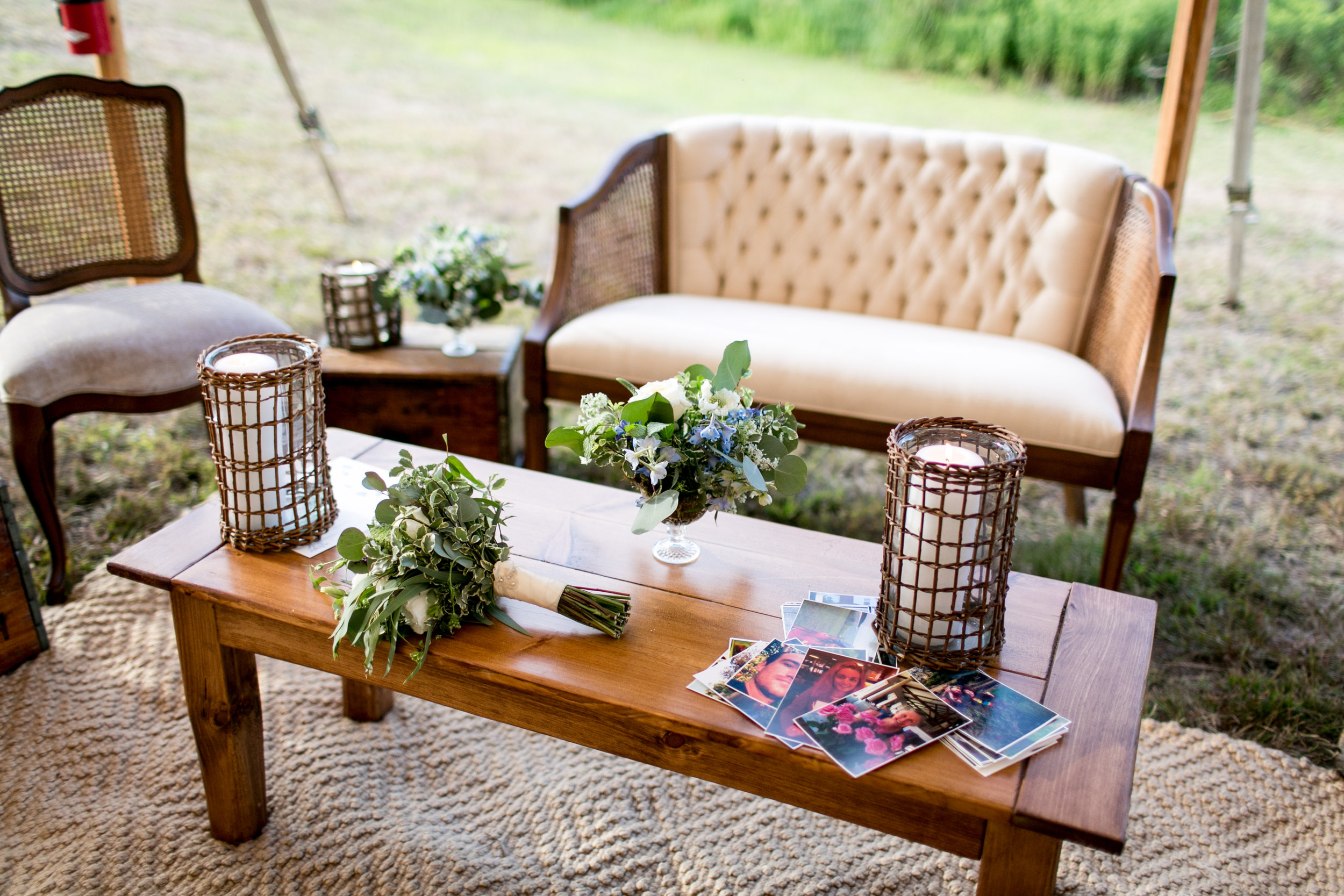 Lounge in CT tented wedding by Ashley Douglass Events. Sassafras Vintage Rentals.
