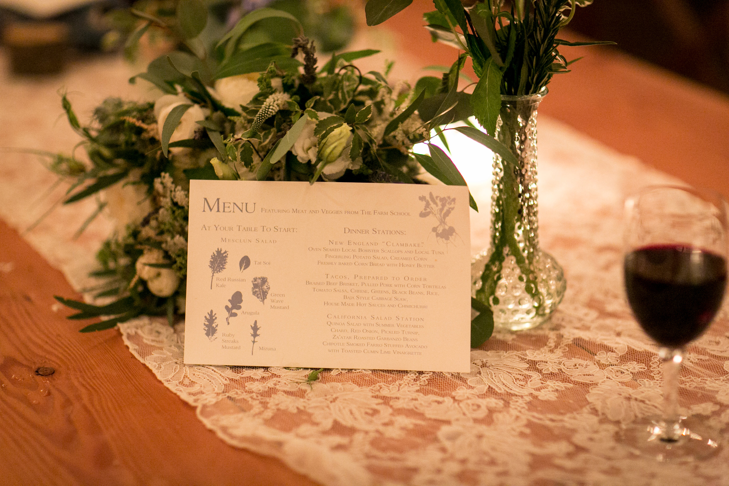 Menu designed by the Bride with the assistance of Lion in the Sun. Tented Wedding in Old Lyme, CT.