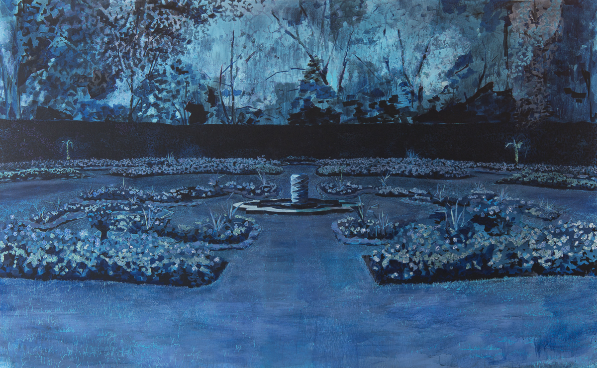 Queen Mary's Garden I , 2016, acrylic an oil on canvas, 65 x 105 in.