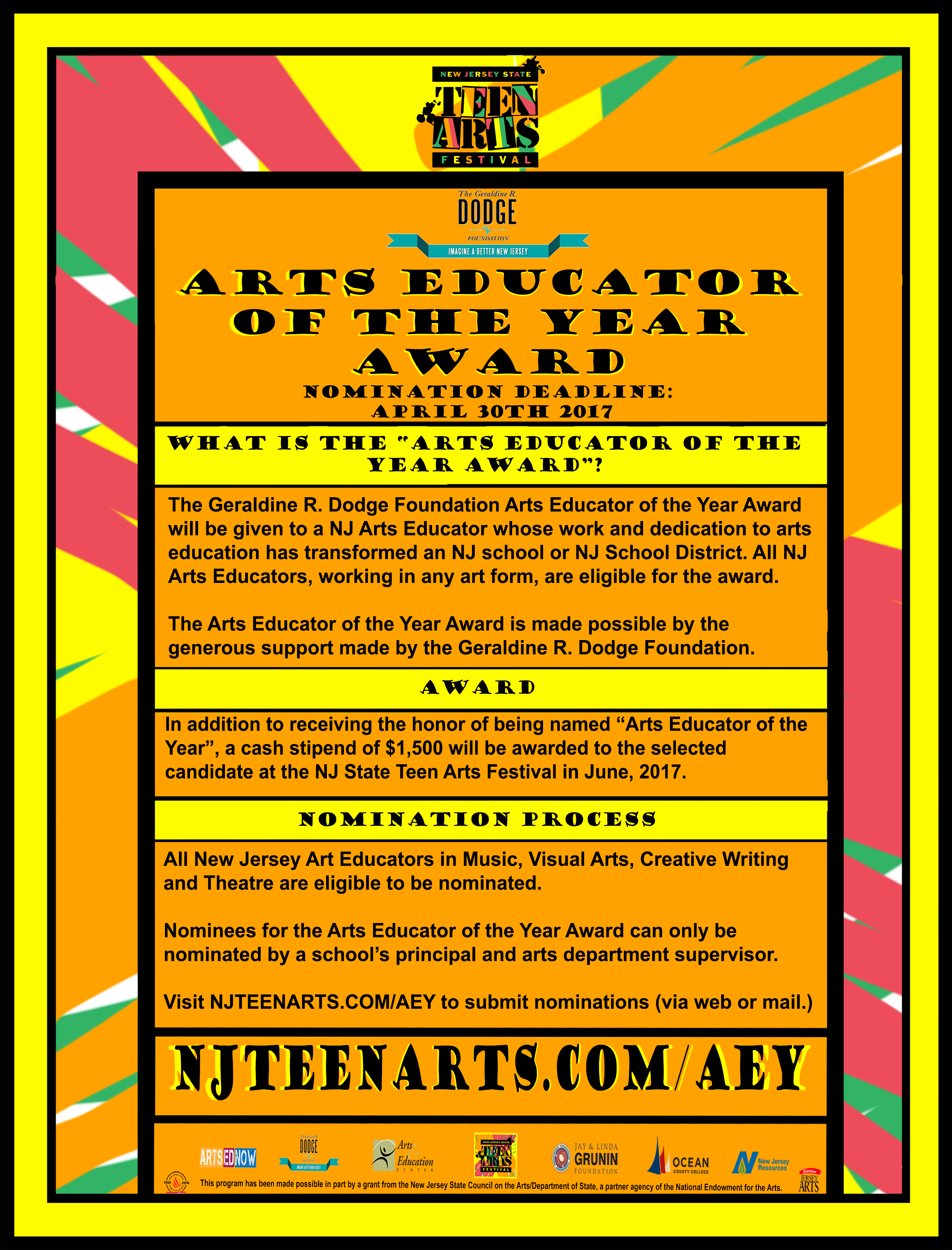 Arts Educator of the Year Award Informational Flyer