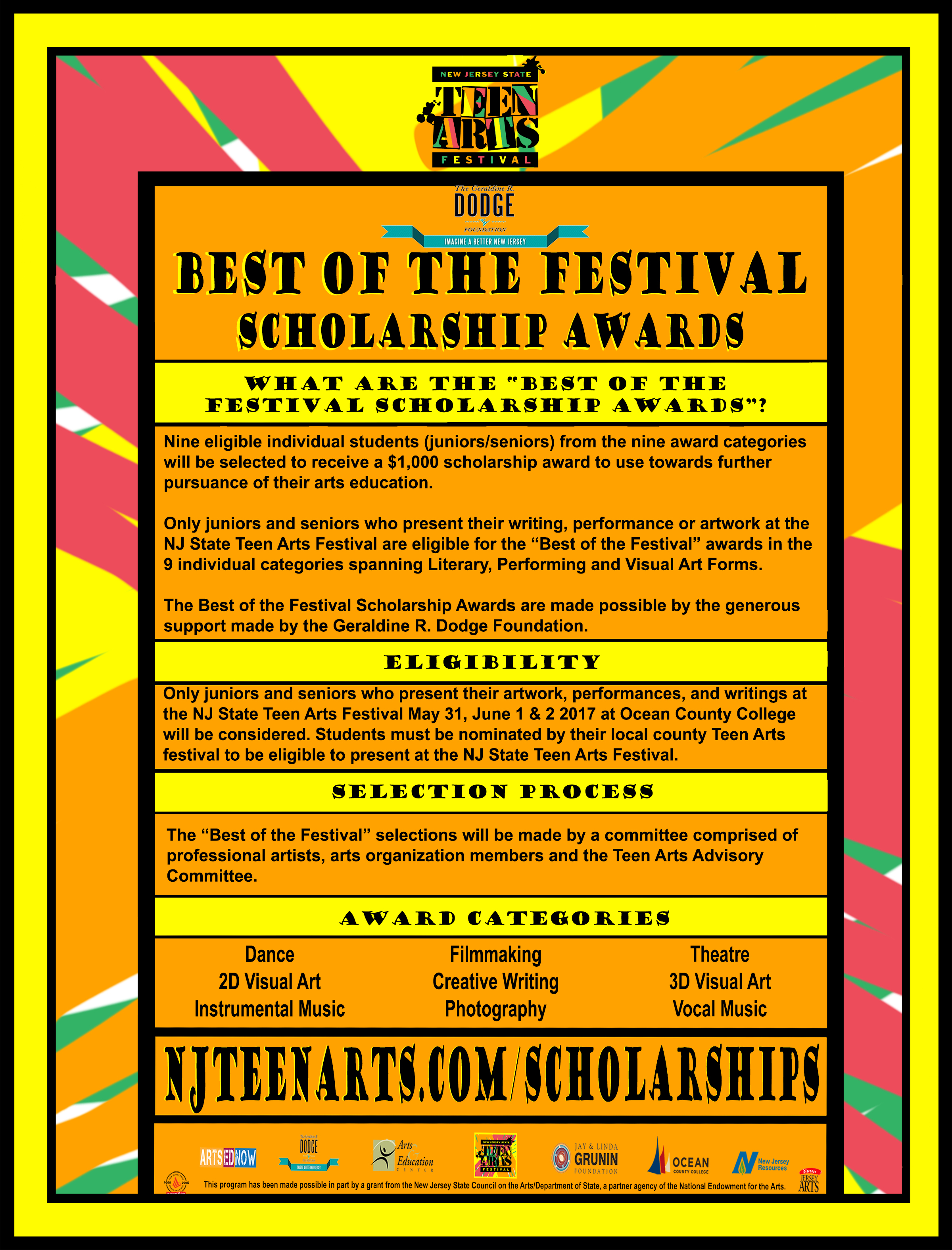 Best of the Festival Scholarship Awards Informational Flyer