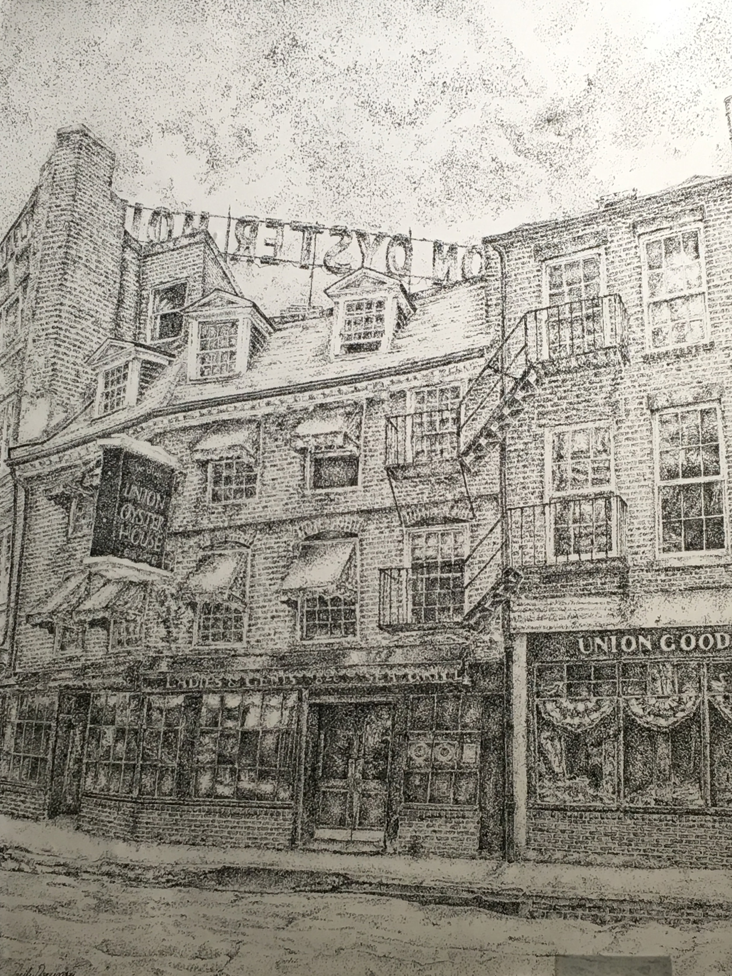 Cecily Downer  Union Oyster House Pen & Ink  A.P. Schalick HS 14 x 11  Salem County
