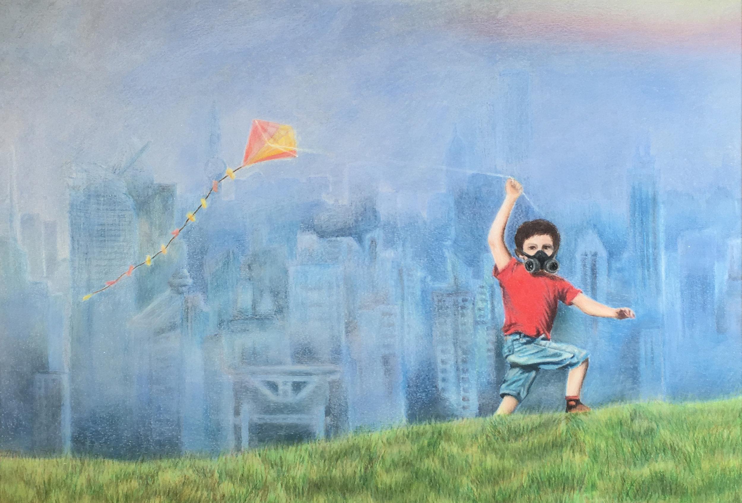 Gazal Mathur  On Smog Nine Colored Pencils  Robbinsville High School 16x20  Mercer County