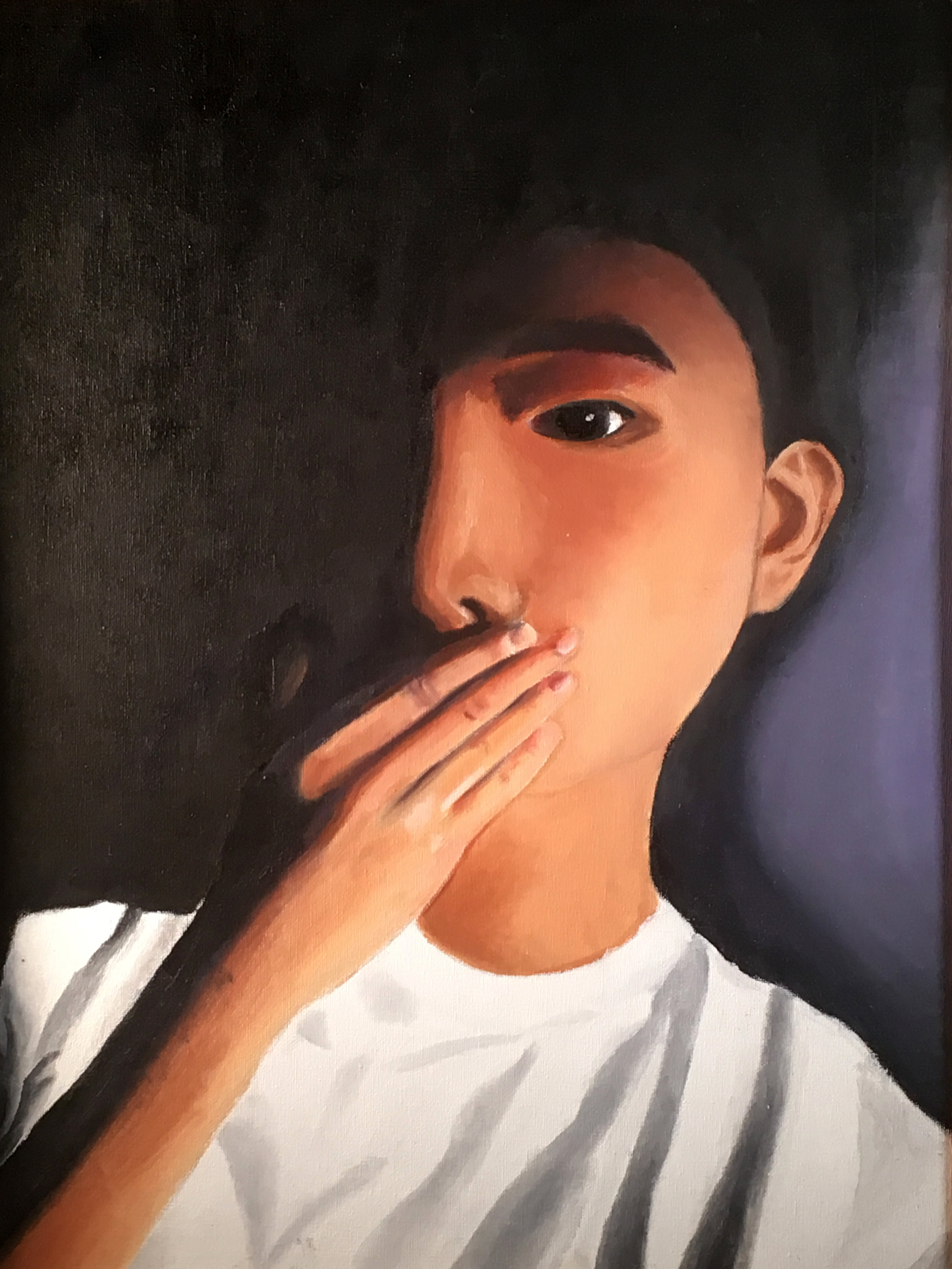 Chenyo Nathan Guo  Self Portrait Oil on Canvas Board  Mater Dei Prep 21x17  Monmouth County