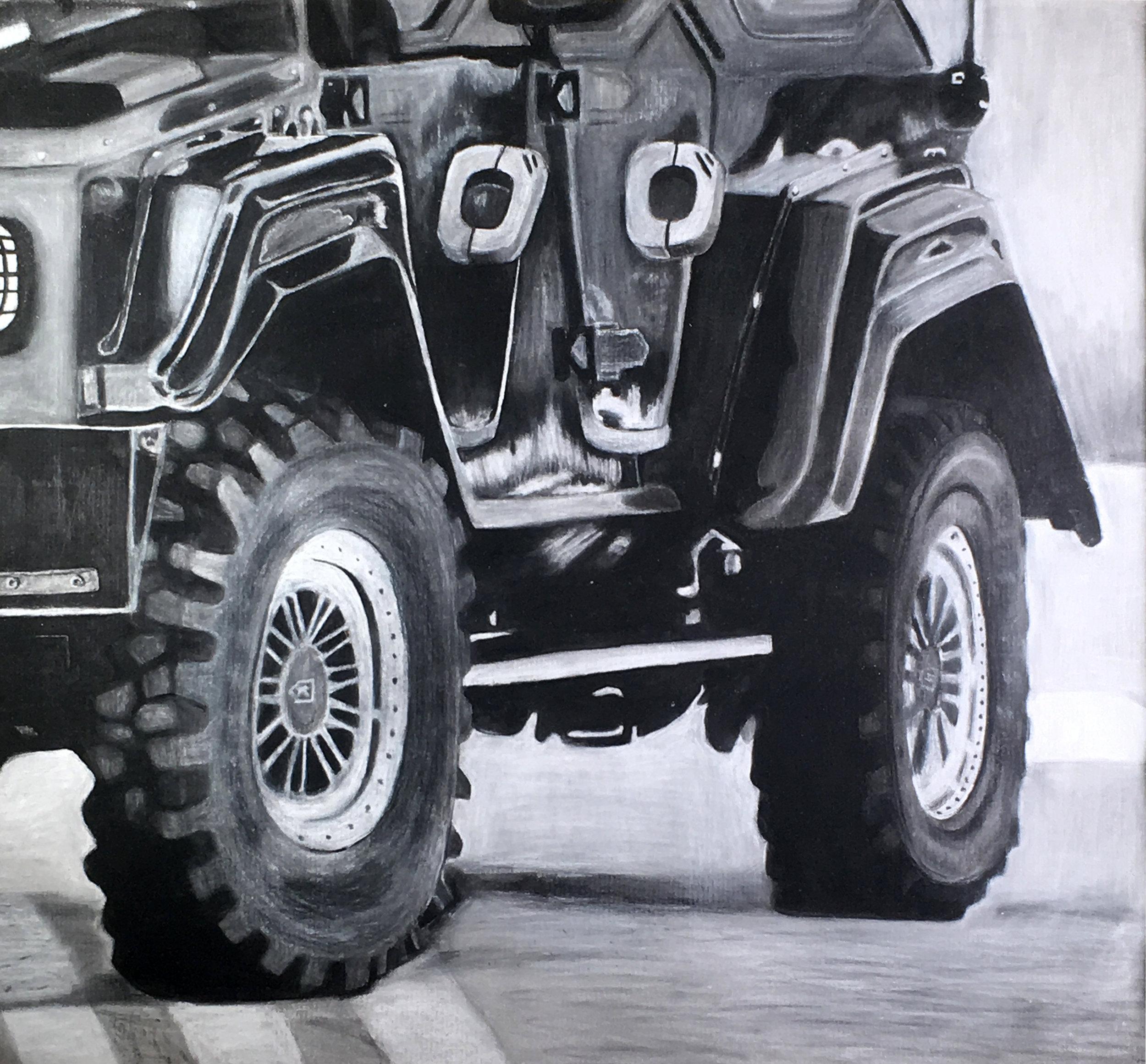 Rebecca Falk  Flat Tire Charcoal  Jackson Liberty 21x21  Ocean County