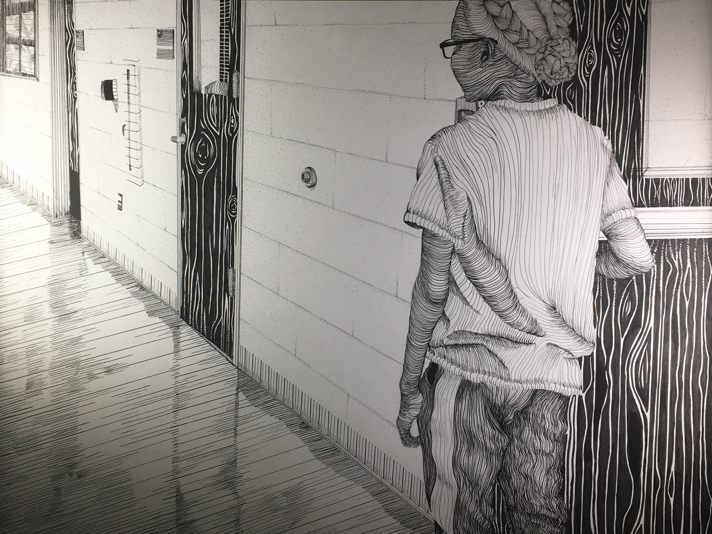 """Diedra James Looking in Felt Tip Pen  """"Monroe Township HS 21x27  Middlesex County"""