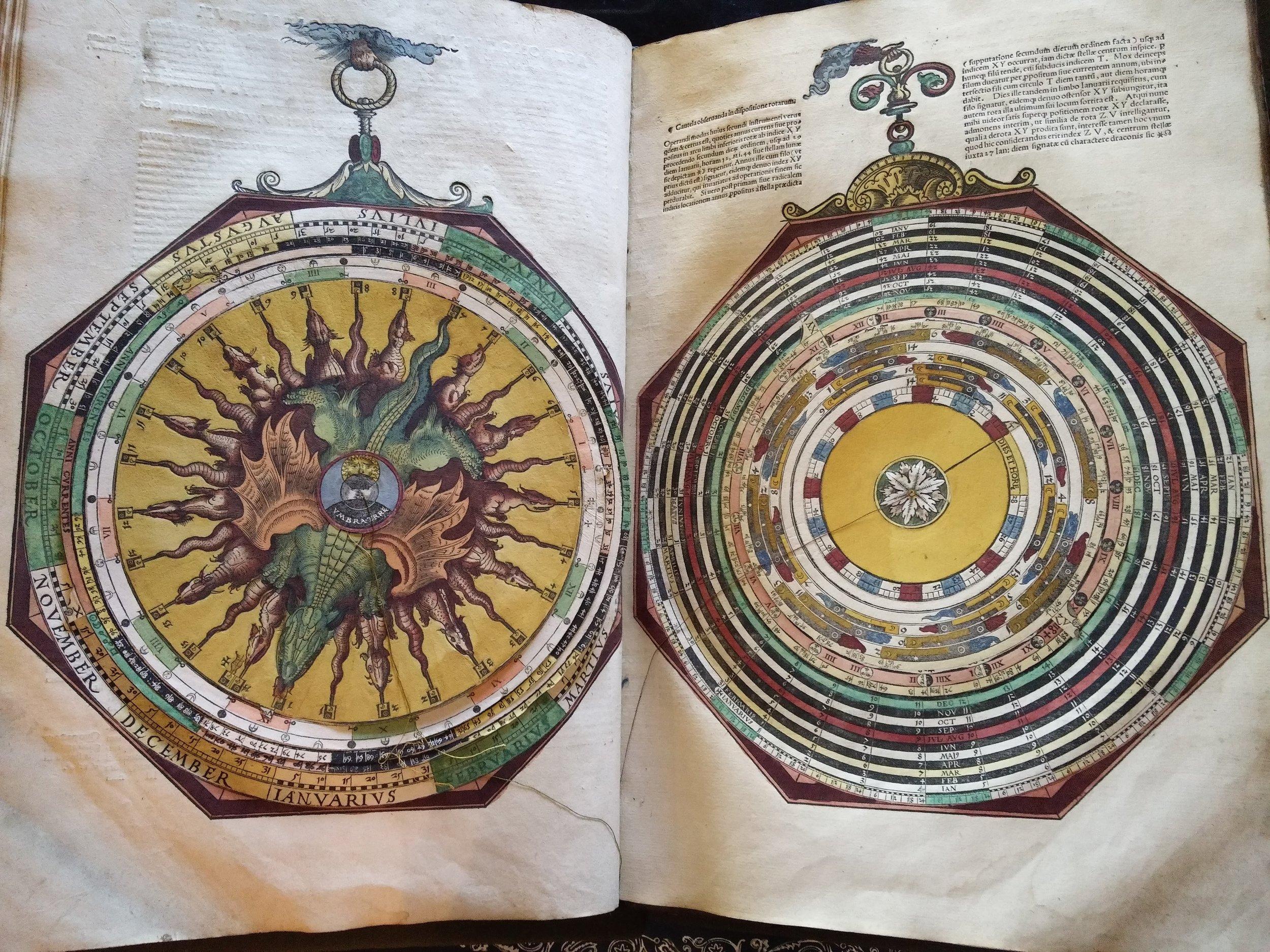 Peter Apian's astronomical calculator  Astronomicum Caesareum printed in 1540 (Magdalen Arch.C.I.5.8)