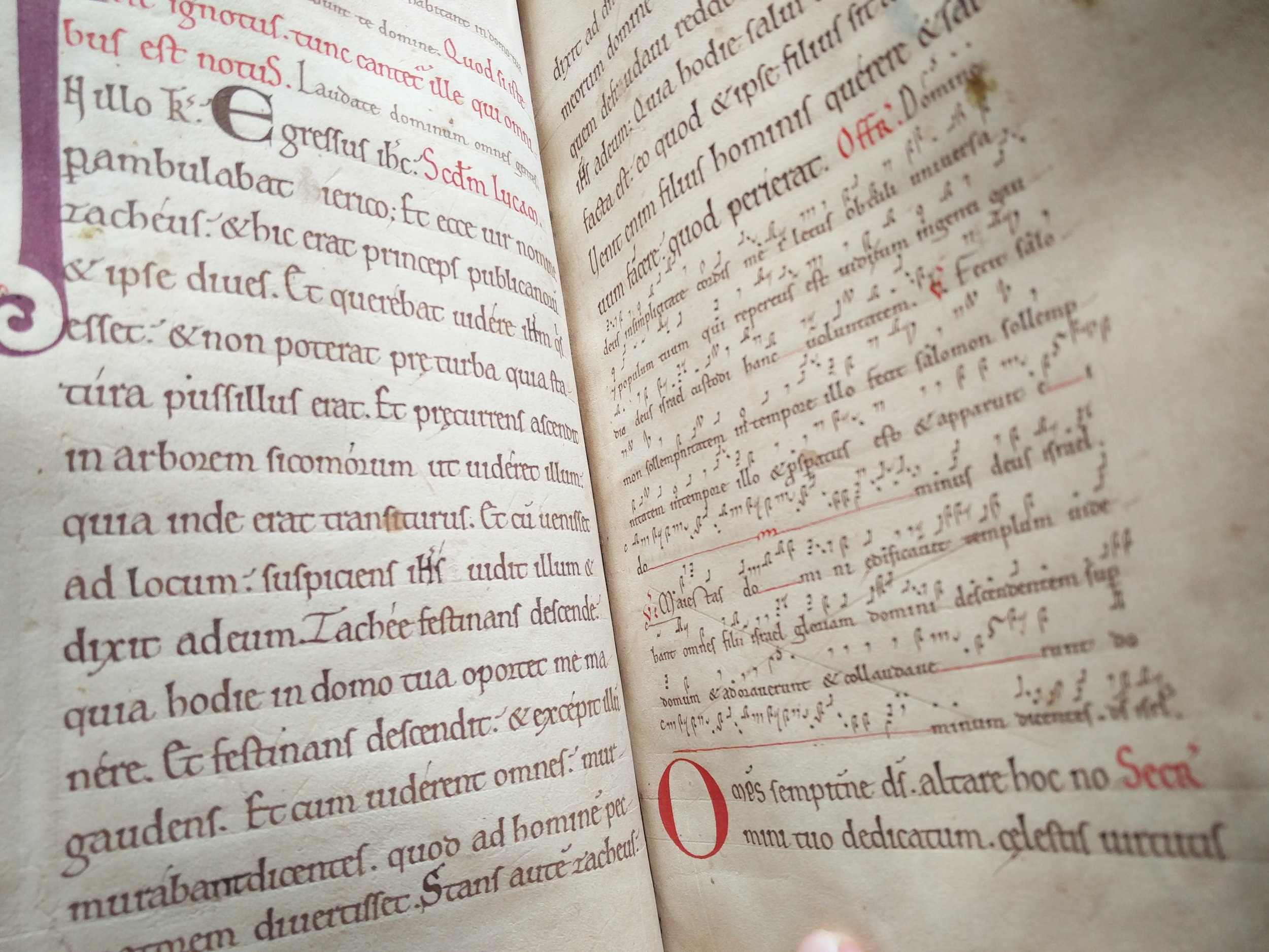 Worcester Psalter (Magdalen MS Lat 100)  Musical notation at this time wasn't standardised, so we're able to tell a lot about a book's georgraphy by the type of notation used.