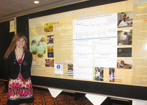 Megan Hansen, Huntington student displaying poster at BCERP meeting.Megan attended Silent Spring Institute, Boston, MA.