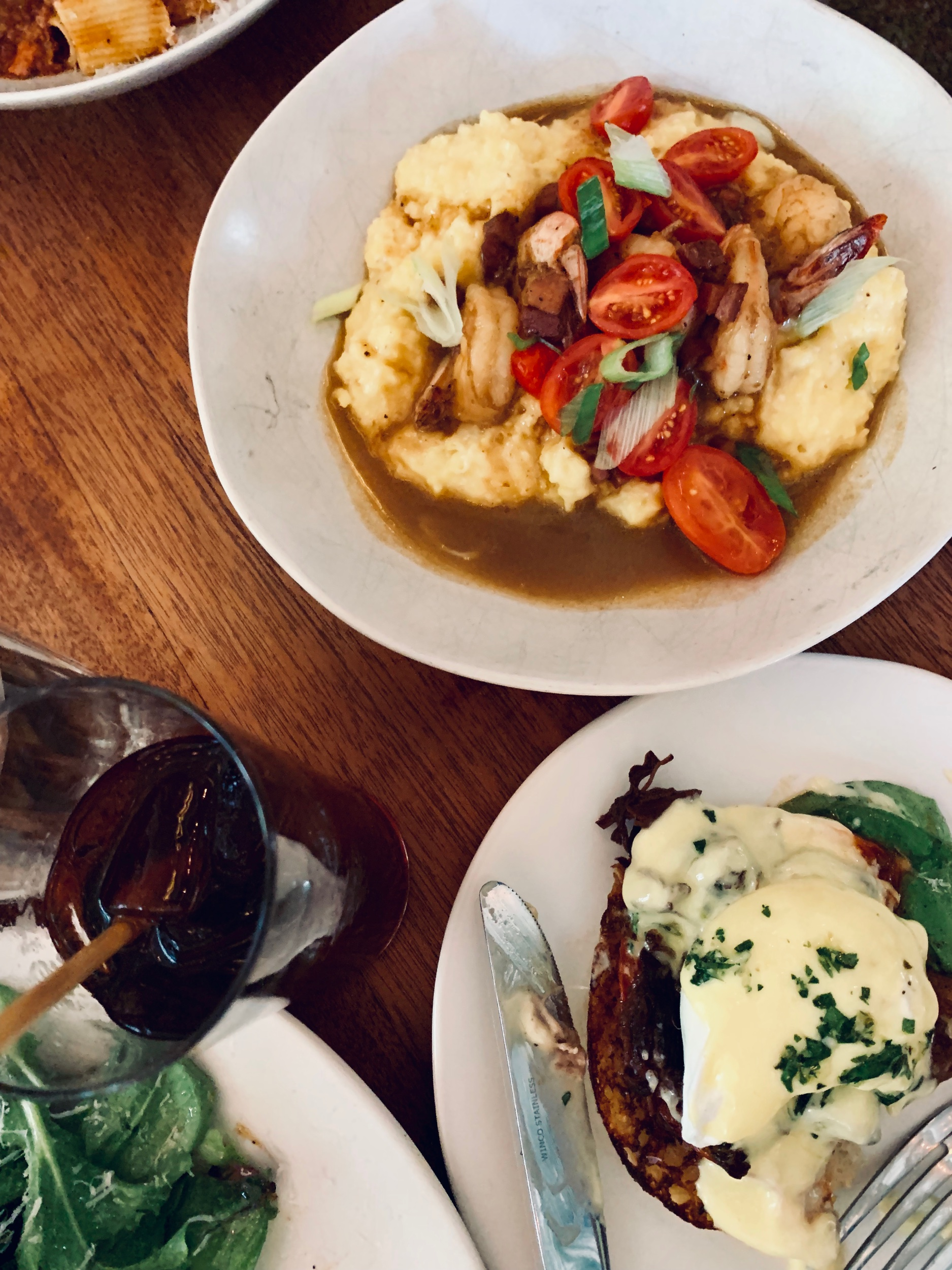 Brunch at Josephine Estelle - Order the shrimp and grits, Eggs Benedict, and pastry plate.