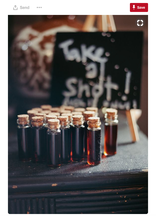 Now this is different! We found a completely unique and fun way to offer shots at your Halloween themed wedding.