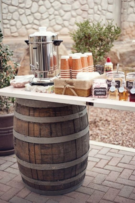 And, of course, every rustic Gilbert wedding isn't complete without a barrel, so why not add one to your hot chocolate bar?