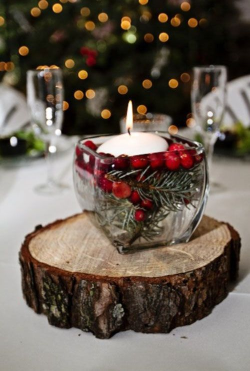 Here we have another winter centerpiece quite similar to the first photo, but here we have a nice combination of red and green within the candle itself.