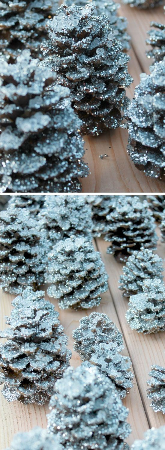 You can even create your very own snowy pinecones for wedding decor.