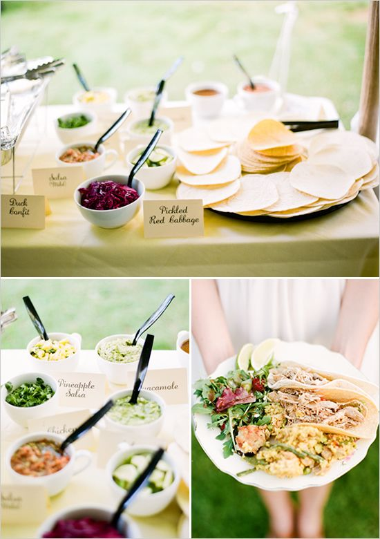 Here's another beautiful taco bar setup that will leave your wedding guests speechless.