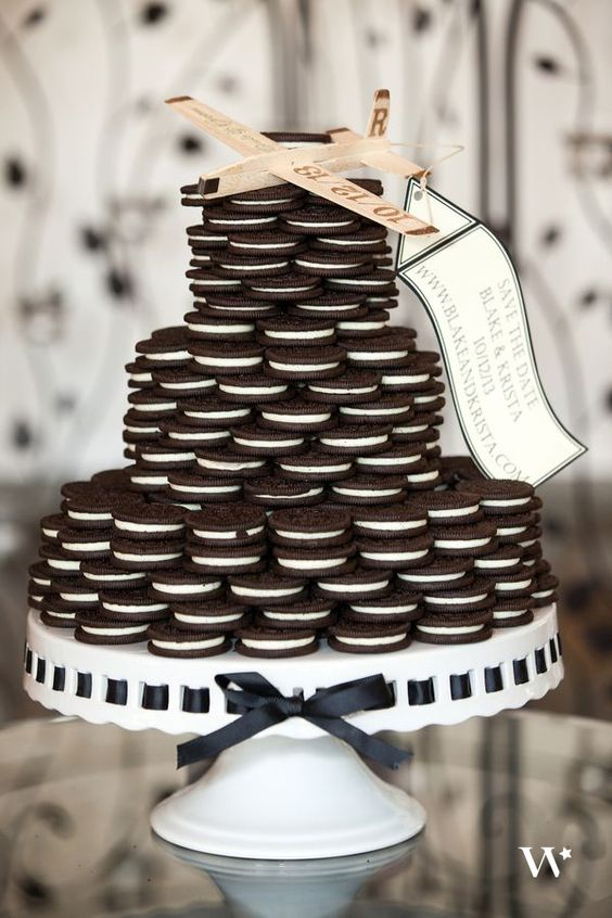 Maybe Oreo's are more your thing. How about an untraditional wedding cake full of Oreos! Toss in a glass of milk, or perhaps a spiked glass of milk, and you're set.