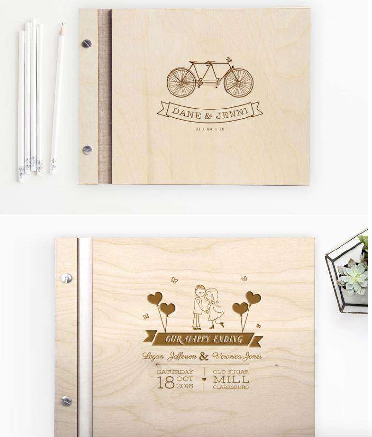 Here's yet another example of keeping that traditional wedding guest book look and feel, but customizing it a bit. This couple when with all wood and I'm loving it!