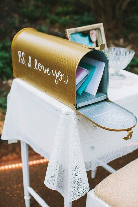 Maybe you want to toss out the whole wedding guest book idea and go with something slightly different. I love the idea of an old-school, classic, and traditional mailbox for hand-written letters from your wedding guests.
