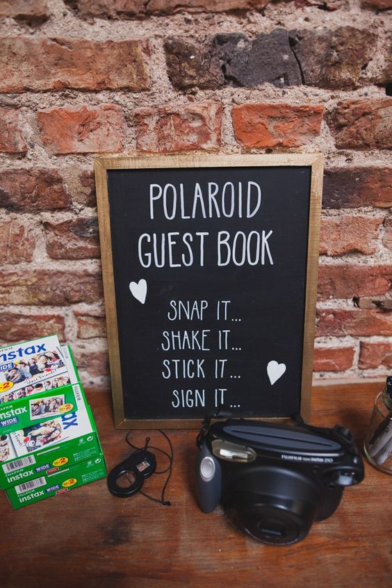 Why not have guests snap a quick pic of themselves and add their own twist to your wedding guest book? This forces guests to get creative on their own, and you still get that hand-written note that you can look back upon for many happy years to come.