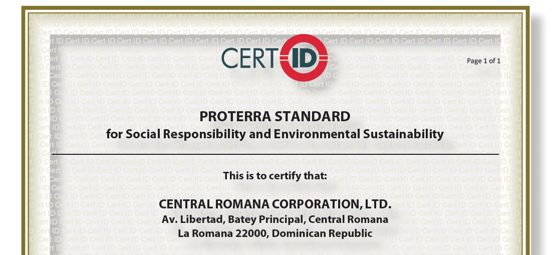 ProTerra Certifies Central Romana in Social Responsibility and Environmental Sustainability