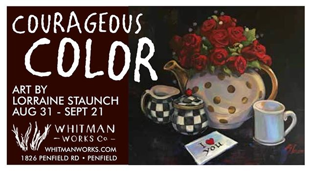 """Getting everything ready for this weekend's opening of our newest exhibition, """"Courageous Color- the Bold Art of Lorraine Staunch""""! Check out this awesome as coming out in this week's @roccitynews on Wednesday. #artshow #roctheart #rochesterny #penfieldny #localarts #courageouscolor"""