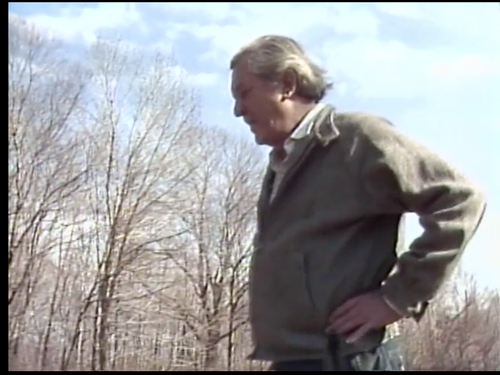 A still of William Styron walking through a graveyard near his home in Roxbury, Connecticut, from Joel Foreman's 1982 documentary about the author.