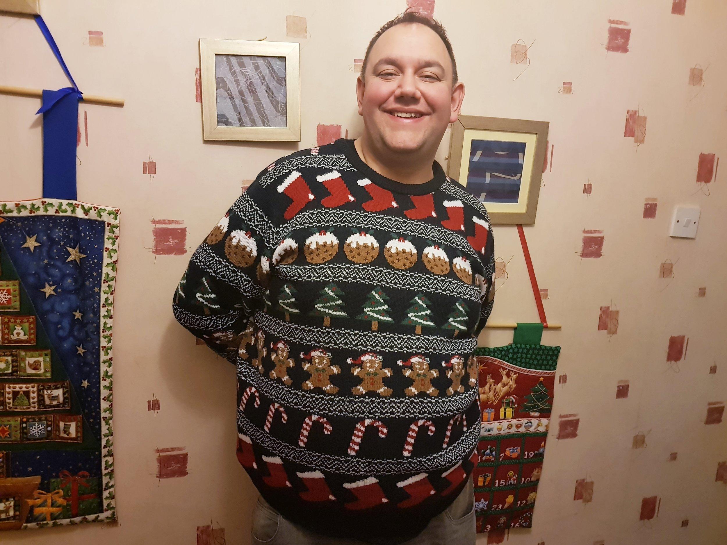John in a Sainsbury's TU Christmas jumper