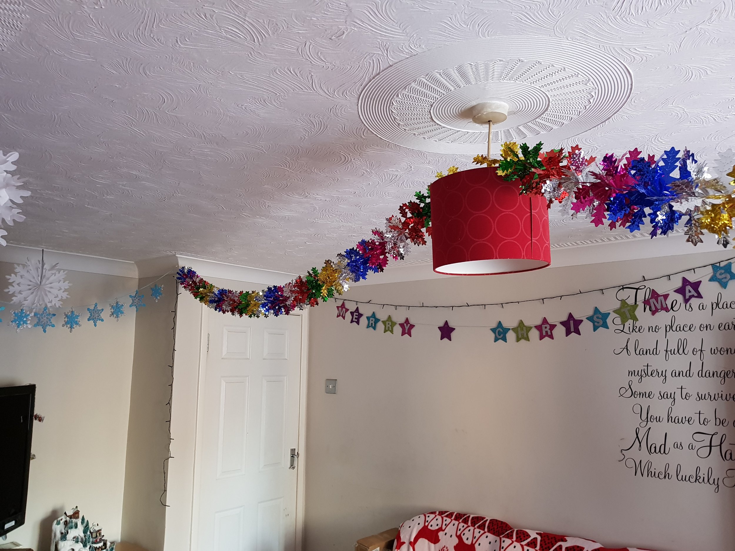 Rainbow foil ceiling garlands