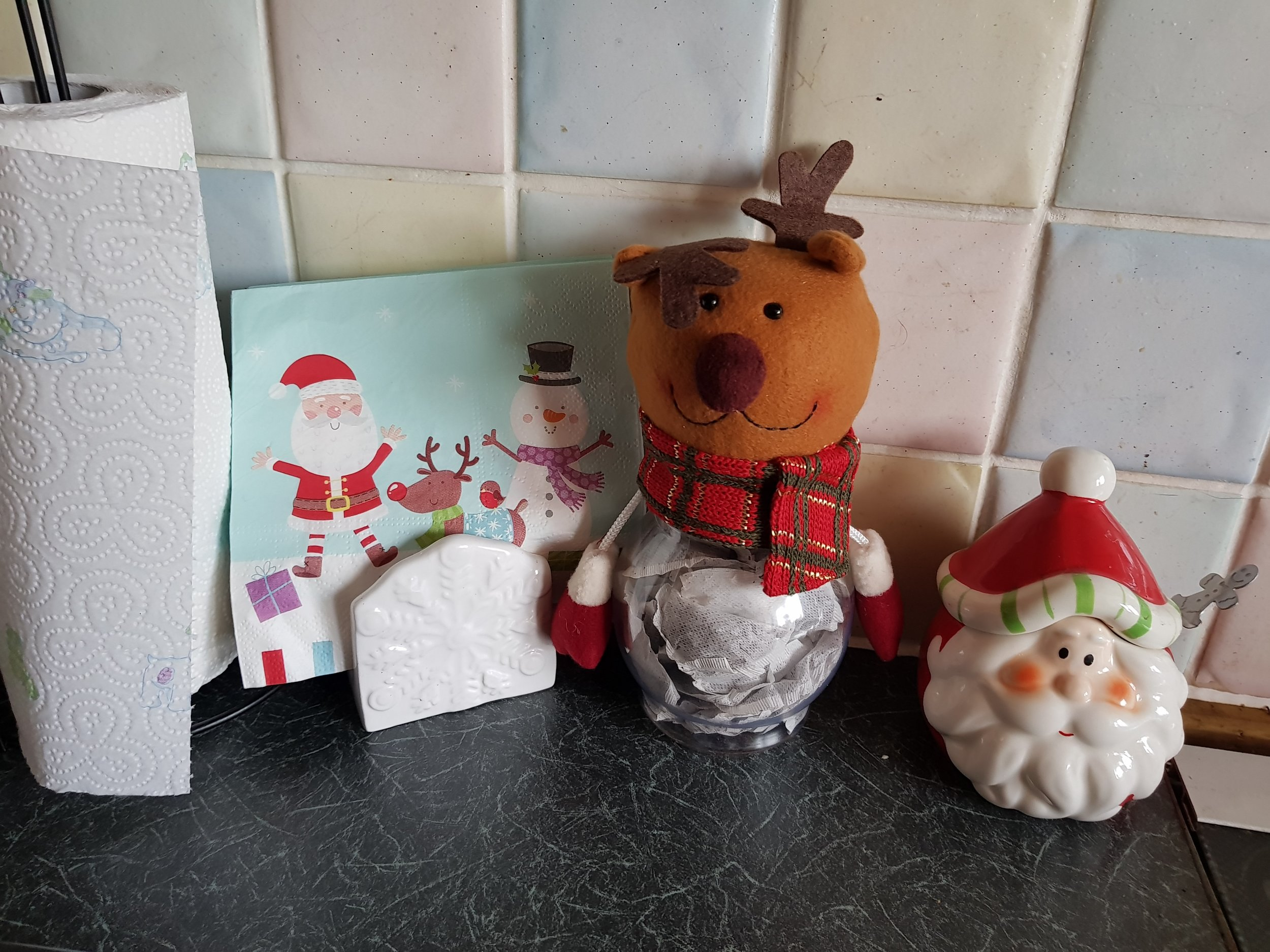 Christmas kitchen roll napkin holder tea bag jar and sugar pot