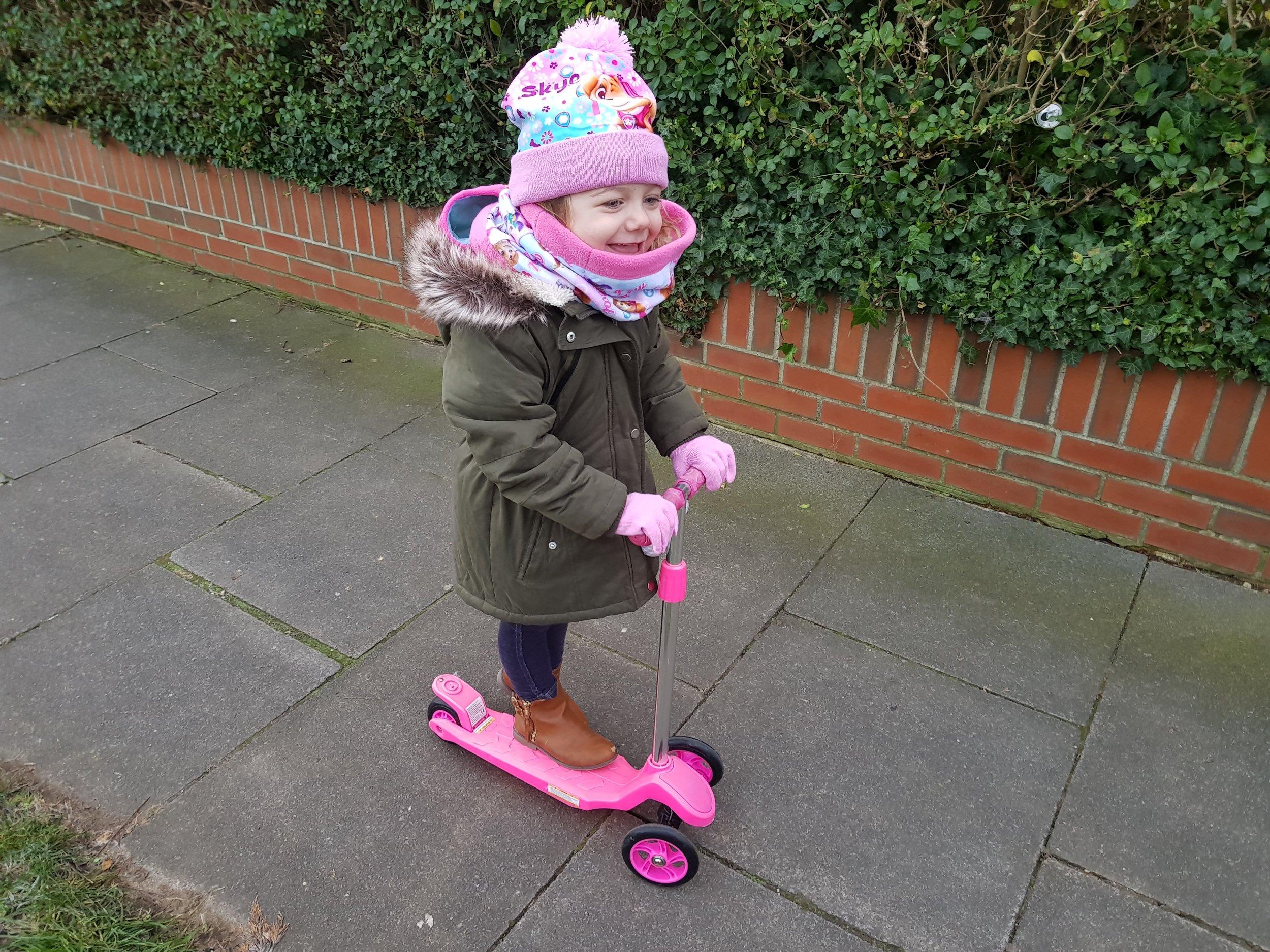 Scootering to preschool