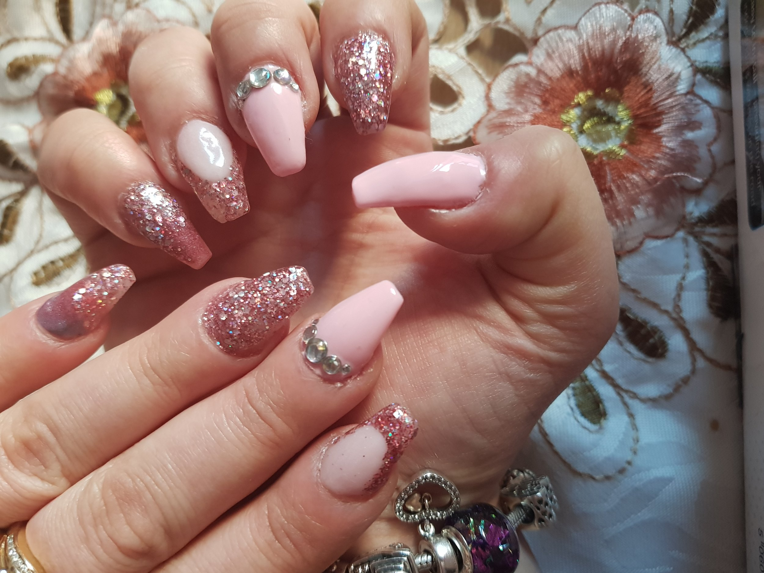 Pink and pretty nail art glitter French tip birthday nails