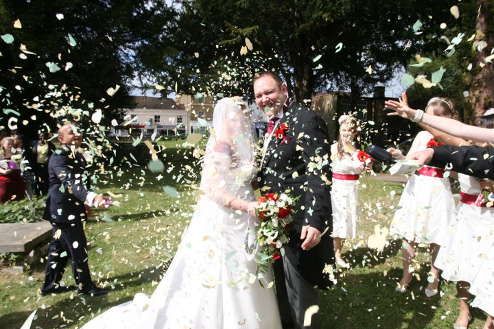 Confetti throwing on our wedding day