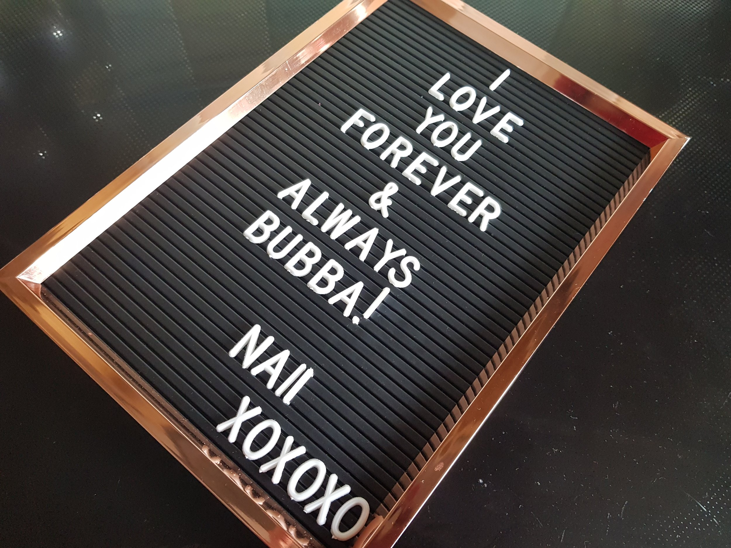 I love you forever & always bubba love note on peg letter board